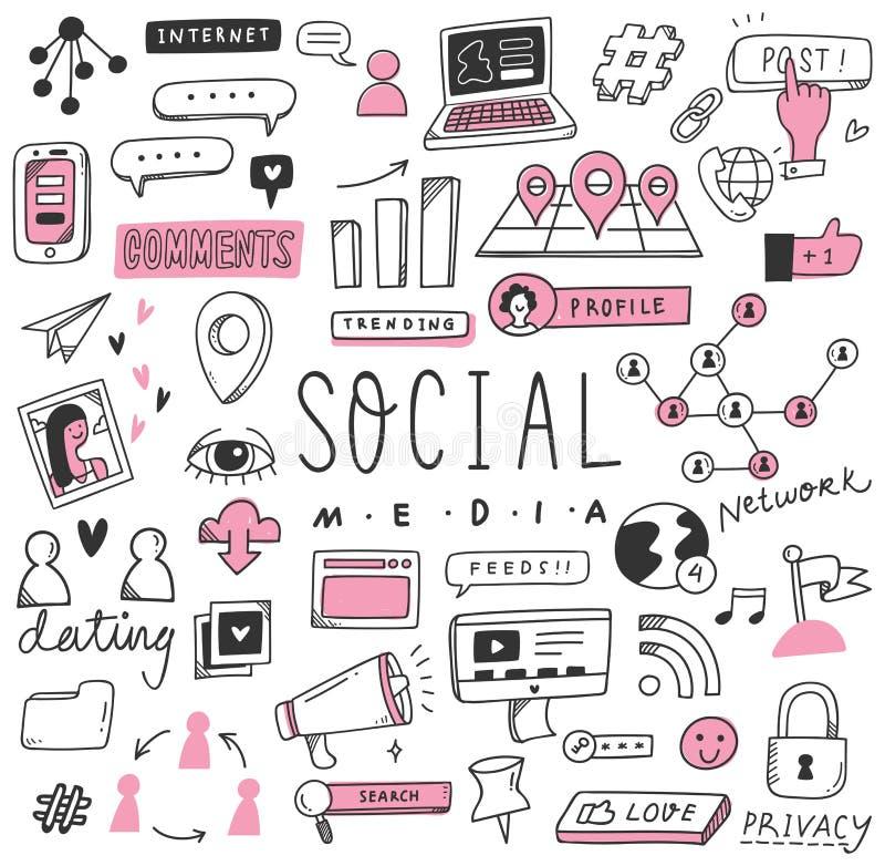 Ręka rysujący ogólnospołeczny środka doodle set ilustracja wektor