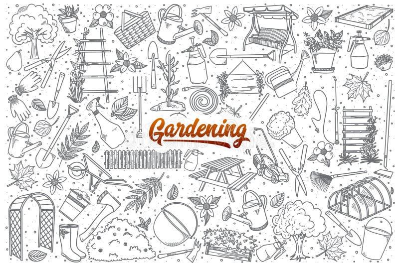 Ręka rysujący ogrodnictwo ustawiający z literowaniem royalty ilustracja