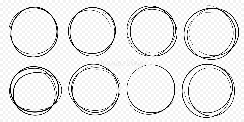 Ręka rysujący okrąg linii nakreślenia skrobaniny ustalonego wektorowego kółkowego doodle round okręgi