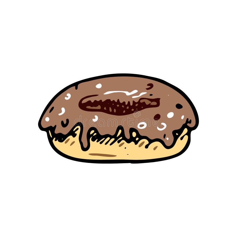 Ręka rysujący pączka doodle Koloru nakreślenia jedzenie i napój, ikona odszyfrowywa royalty ilustracja