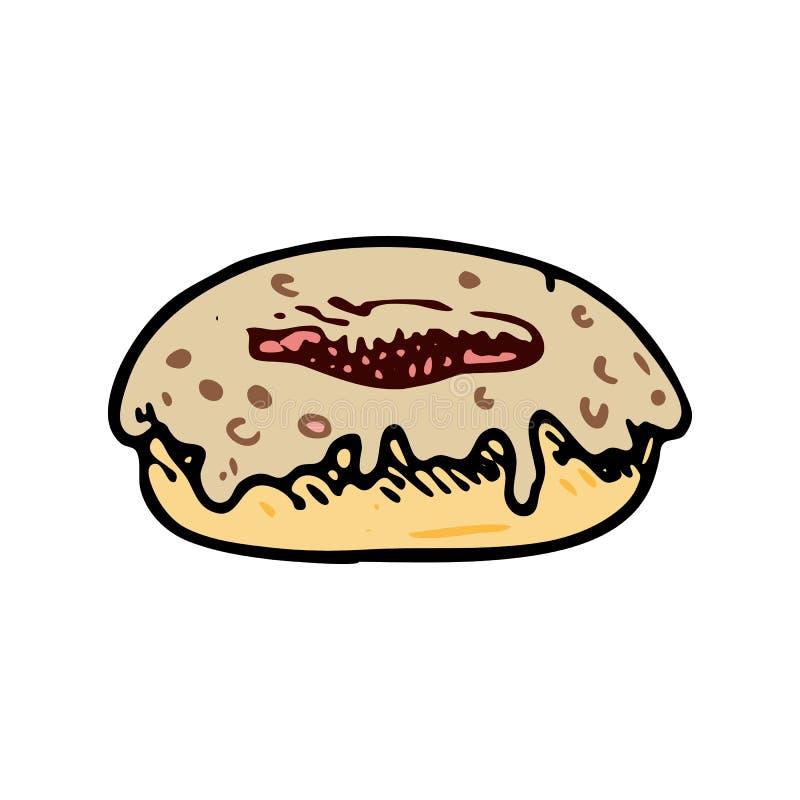 Ręka rysujący pączka doodle Koloru nakreślenia jedzenie i napój, ikona odszyfrowywa ilustracji