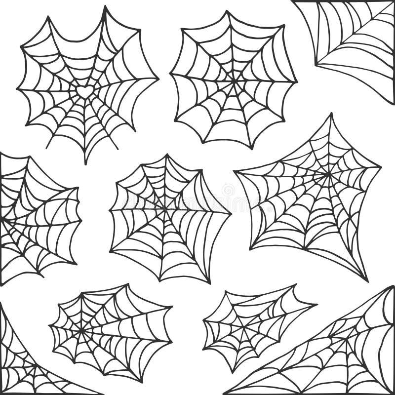 Ręka rysujący pająk sieci Halloween symbol Pajęczyny dekoraci elementy inkasowi Halloweenowa pajęczyna wektoru rama i granicy royalty ilustracja