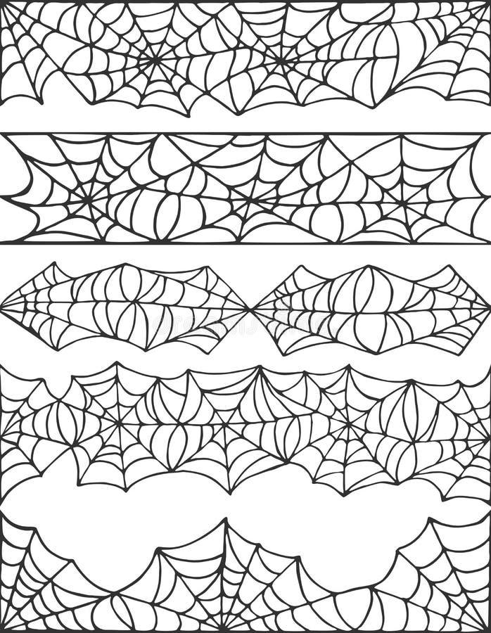 Ręka rysujący pająk sieci Halloween symbol Pajęczyny dekoraci elementy inkasowi Halloweenowej pajęczyny bezszwowe granicy dla ilustracji