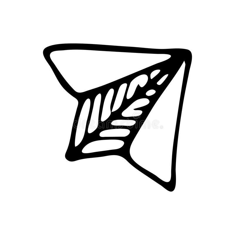 Ręka rysujący papieru samolotu doodle Nakreślenie Z powrotem szkoła, ikona odszyfrowywa ilustracja wektor
