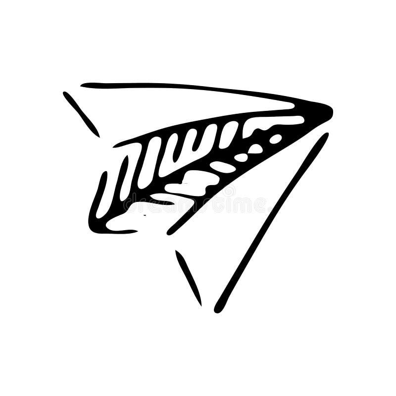 Ręka rysujący papieru samolotu doodle Nakreślenie Z powrotem szkoła, ikona odszyfrowywa royalty ilustracja