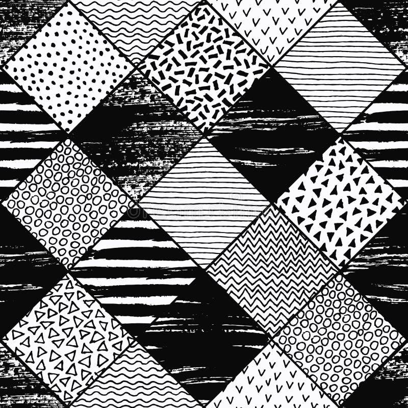 Ręka Rysujący patchworku tło royalty ilustracja