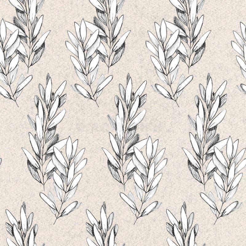 Ręka rysujący pióra grayscale bezszwowy wzór z gałązkami oliwnymi ilustracji