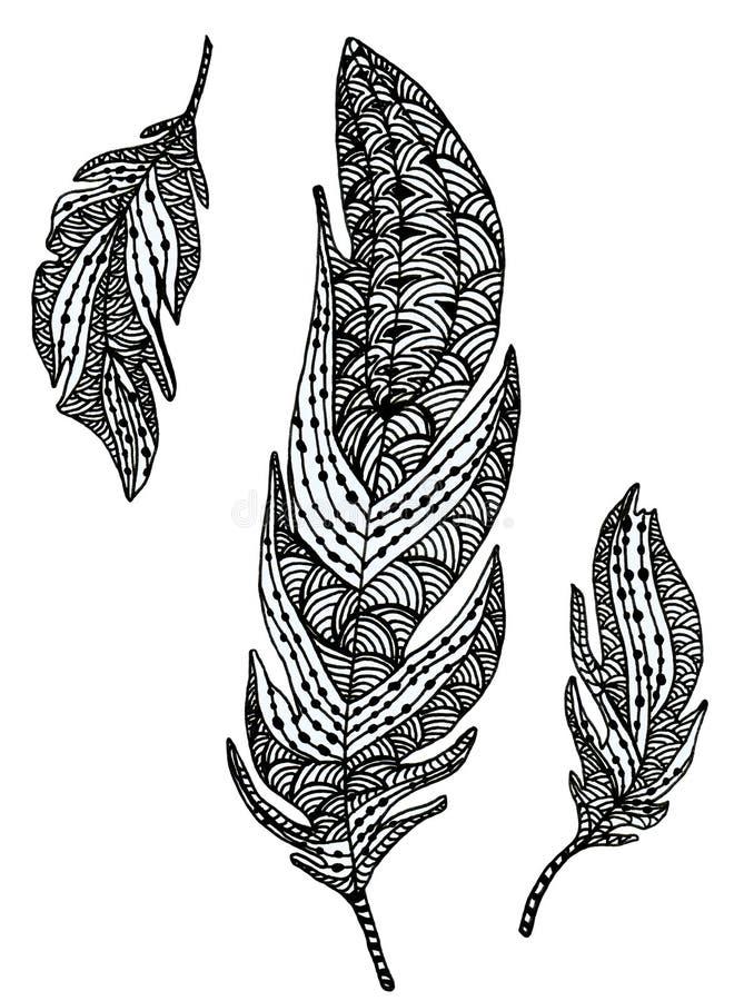 Ręka Rysujący piórko ilustracja wektor
