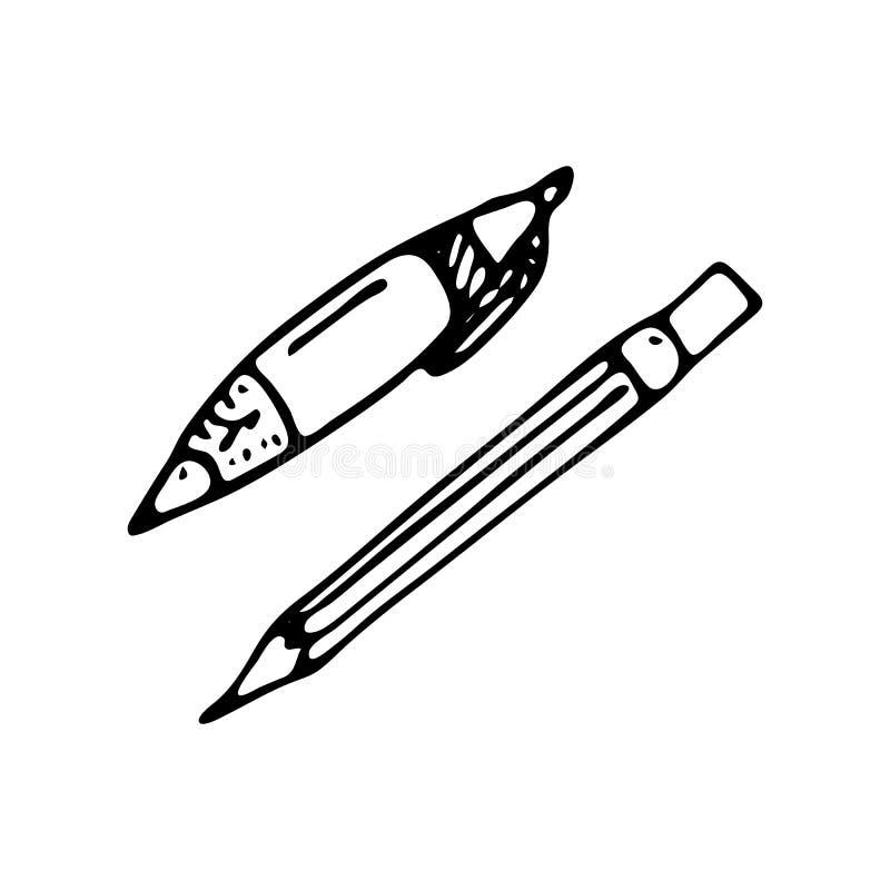 Ręka rysujący pióro i ołówkowa doodle ikona Ręka rysujący czarny nakreślenie royalty ilustracja
