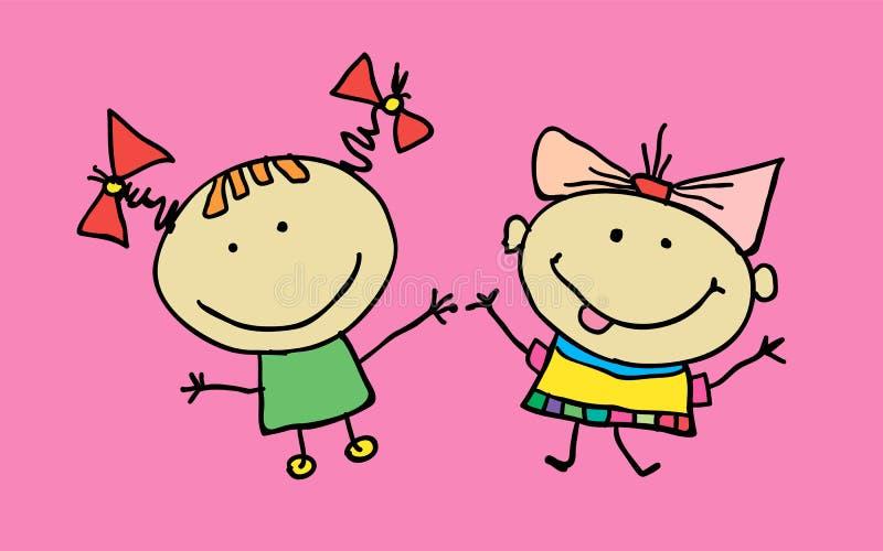 Ręka rysujący piękni śliczni mała dziewczynka najlepsi przyjaciele ilustracja obrazy royalty free