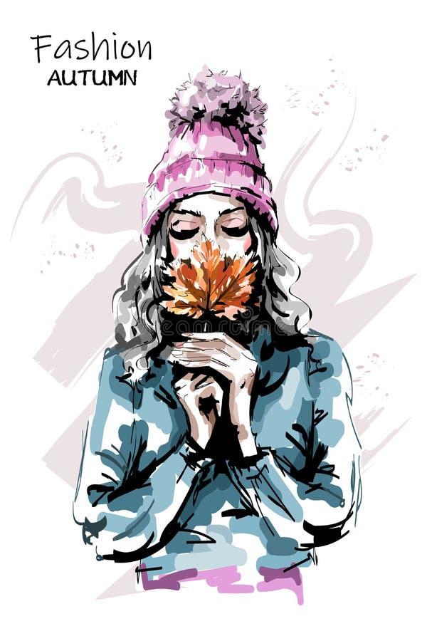 Ręka rysujący piękny młodej kobiety mienia jesieni liść Elegancka elegancka dziewczyna moda portret kobiety ilustracja wektor