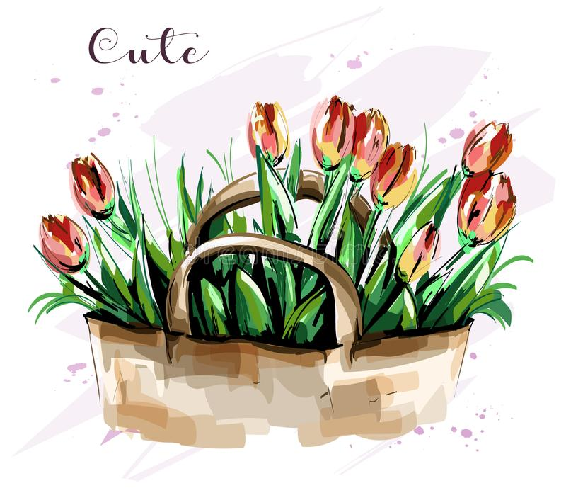 Ręka rysujący piękny tulipanu bukiet ładne kwiaty nakreślenie Moda set royalty ilustracja