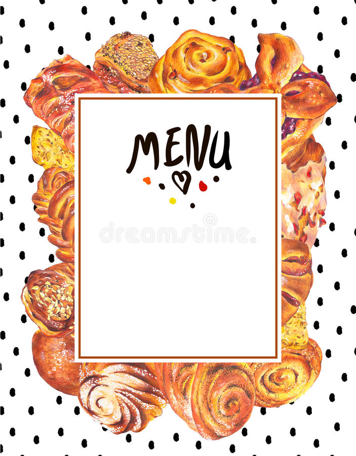 Ręka rysujący pieczenie karty menu ilustracji