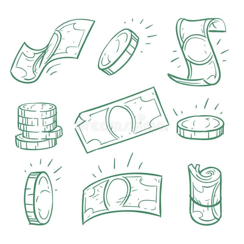Ręka rysujący pieniądze Doodle monet i banknotów wektoru dolarowy set ilustracja wektor