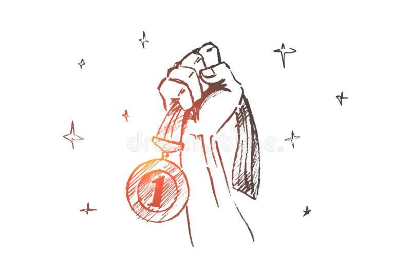 Ręka rysujący pierwszy miejsce medal w pięści ilustracji