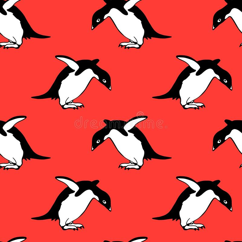Ręka rysujący pingwinu wzór ilustracja wektor