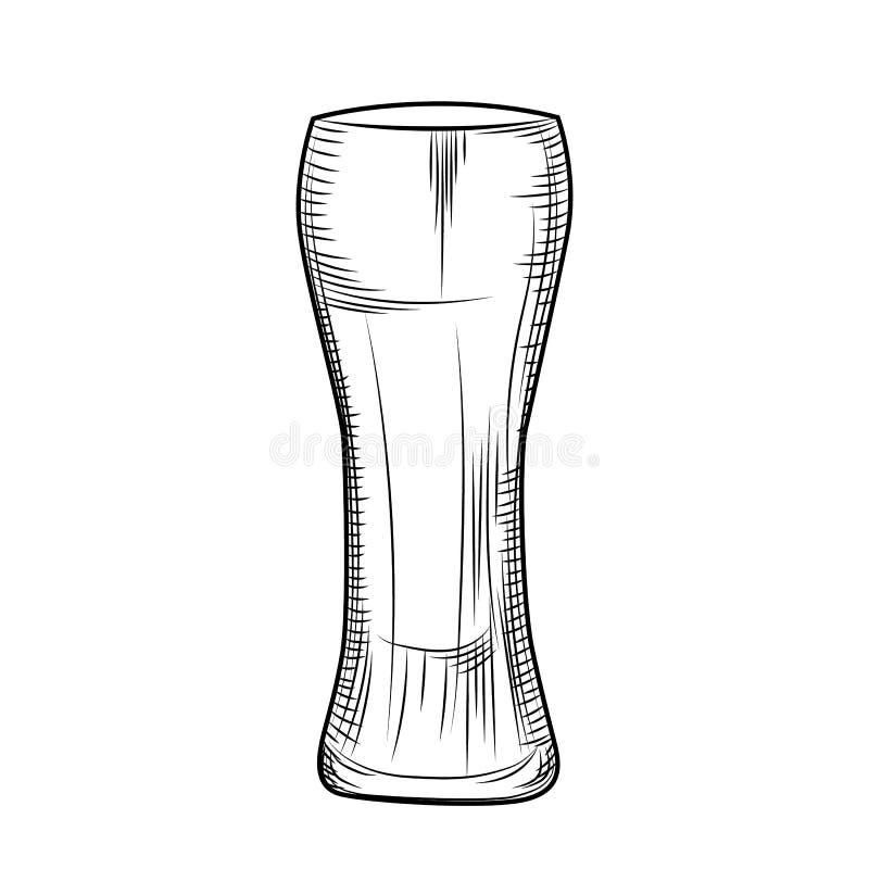 Ręka rysujący piwny szkło Grawerowa? styl Ilustracja odizolowywaj?ca royalty ilustracja
