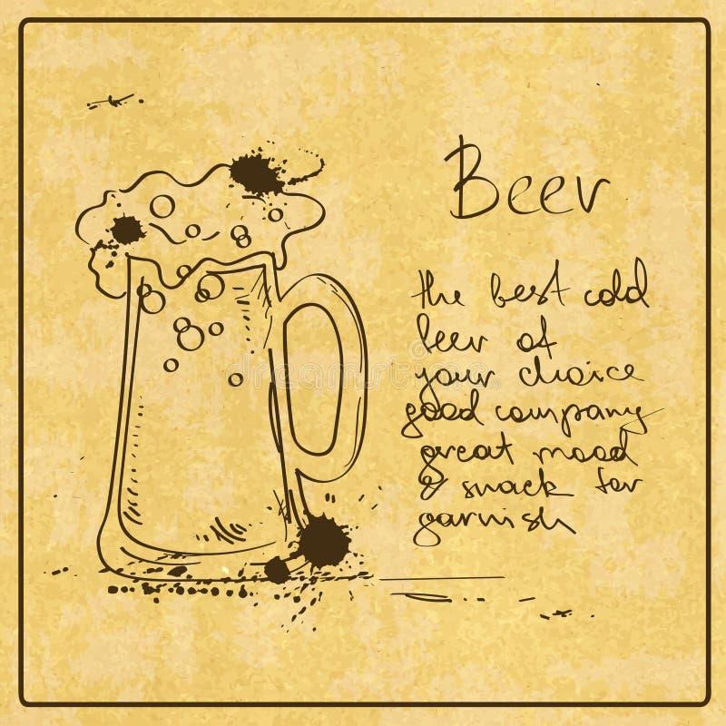 Ręka rysujący piwo royalty ilustracja