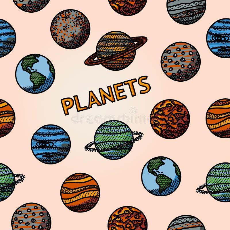 Ręka rysujący planeta wzór z - rtęcią, venus ilustracji