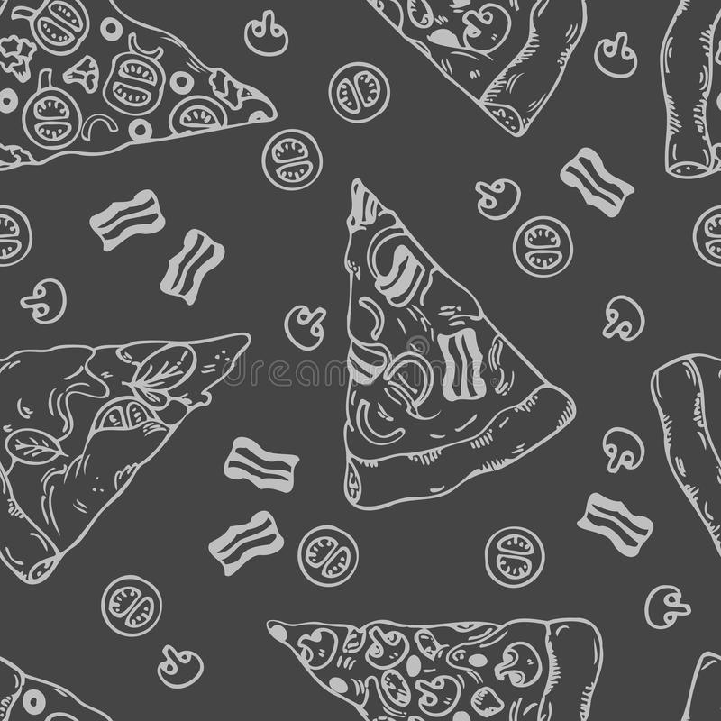 Ręka rysujący plasterki pizza bezszwowy wzór ilustracja wektor