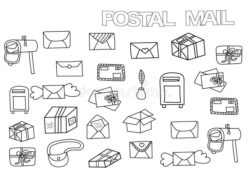 Ręka rysujący pocztowy set Kolorystyki książki strony szablon ilustracja wektor