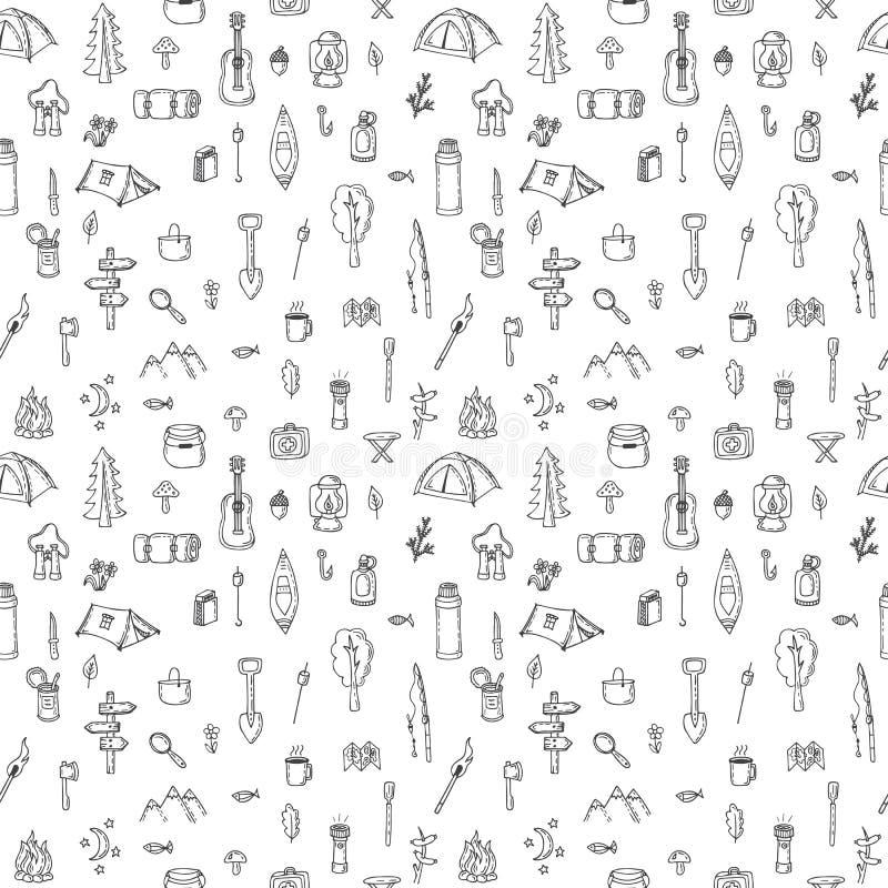 Ręka rysujący podwyżka bezszwowy wzór Doodle campingowi elementy Picni royalty ilustracja