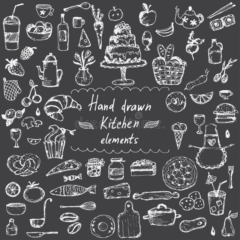 ręka rysujący projektów elementy dla kuchennego tematu wektor royalty ilustracja