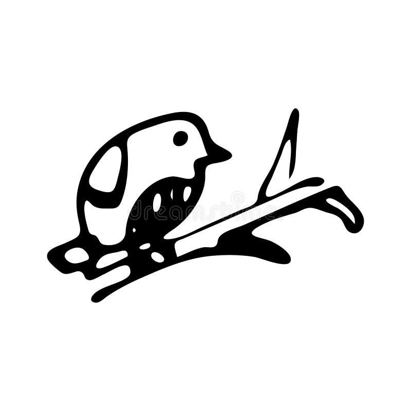 Ręka rysujący ptak na gałęziastym doodle Nakreślenie zimy ikona Dekoracja element pojedynczy białe tło również zwrócić corel ilus ilustracja wektor