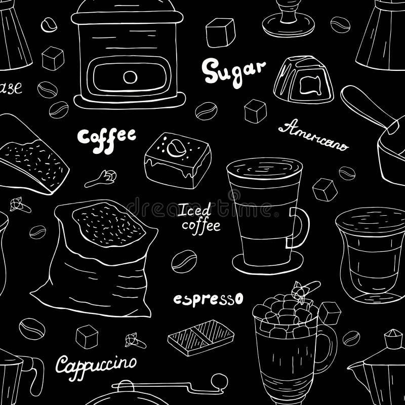 Ręka rysujący różny kawa wzór, biała linia na czarnym tle Cukierniany menu royalty ilustracja