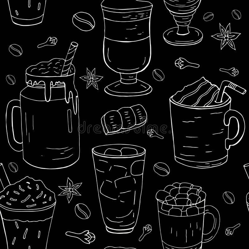 Ręka rysujący różny kawa wzór, biała linia na czarnym tle Cukierniany menu ilustracji