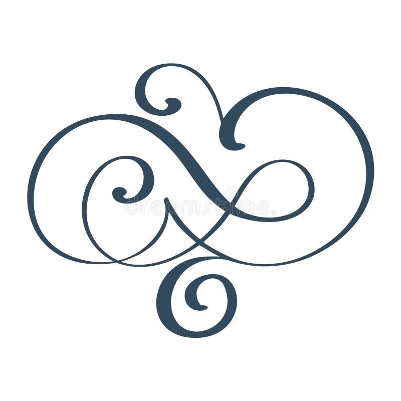 Ręka rysujący rabatowi zawijasa oddzielacza kaligrafii projektanta elementy Wektorowego rocznika ślubna ilustracja Odizolowywając ilustracja wektor