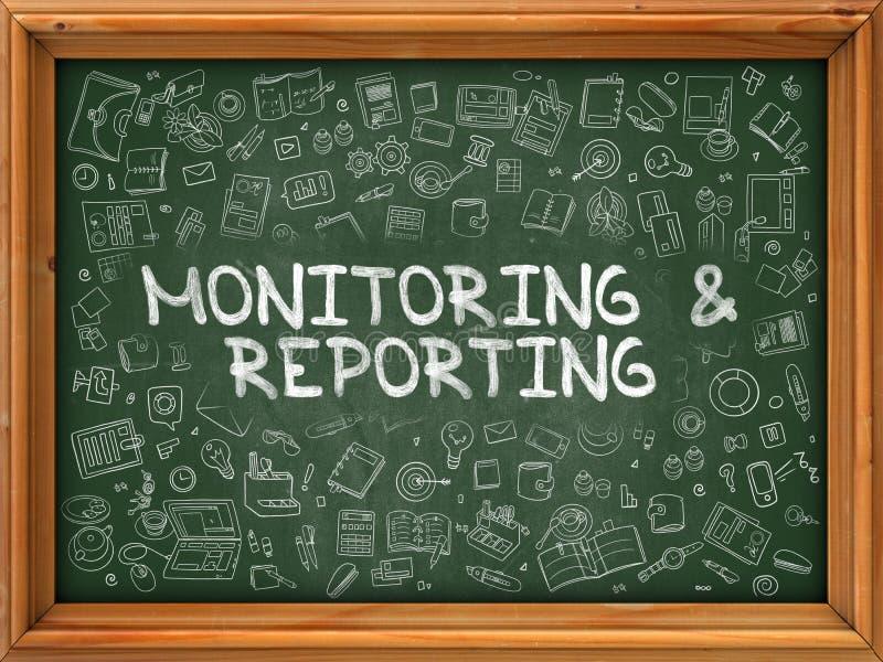 Ręka Rysujący reportaż na Zielonym Chalkboard i monitorowanie ilustracji