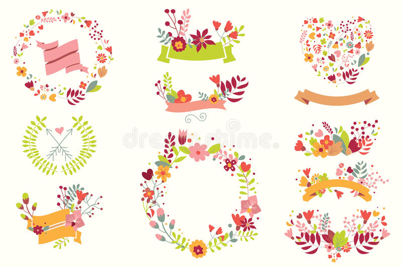 Ręka rysujący roczników kwiaty i kwieciści elementy dla wakacji royalty ilustracja