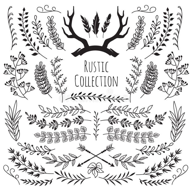 Ręka rysujący rocznik rozgałęzia się, wianek granicy ram poroże, piórka, strzała Nieociosany kwiecisty dekoracyjny ślubny wektor ilustracja wektor