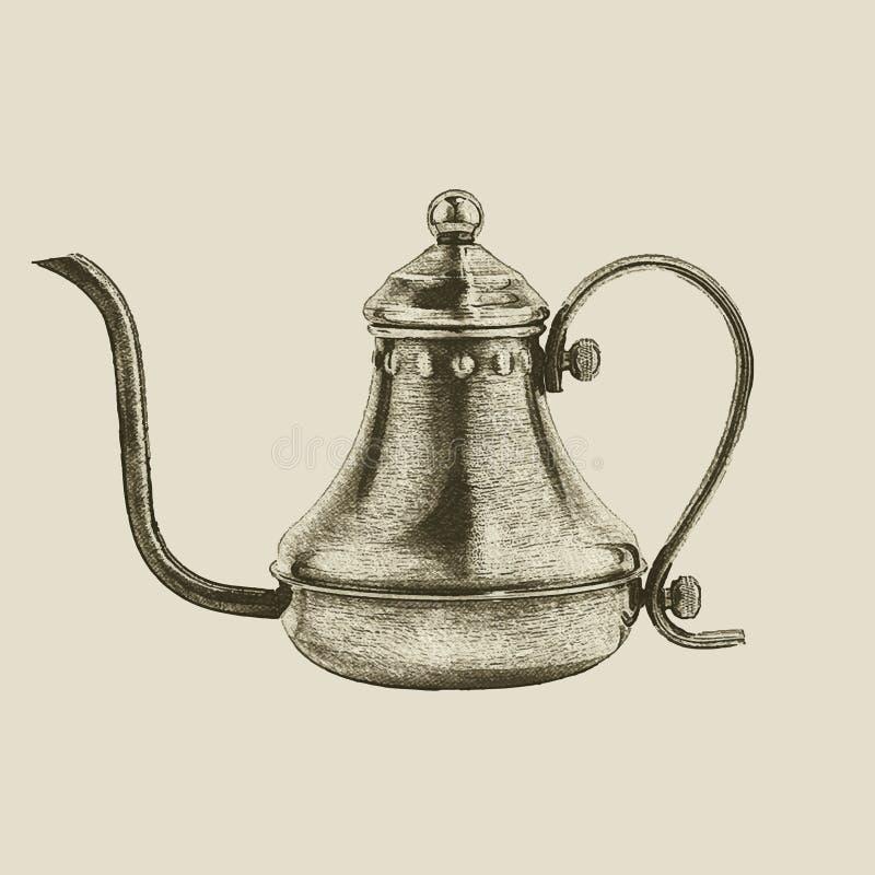 Ręka rysujący rocznika czajnik ilustracji