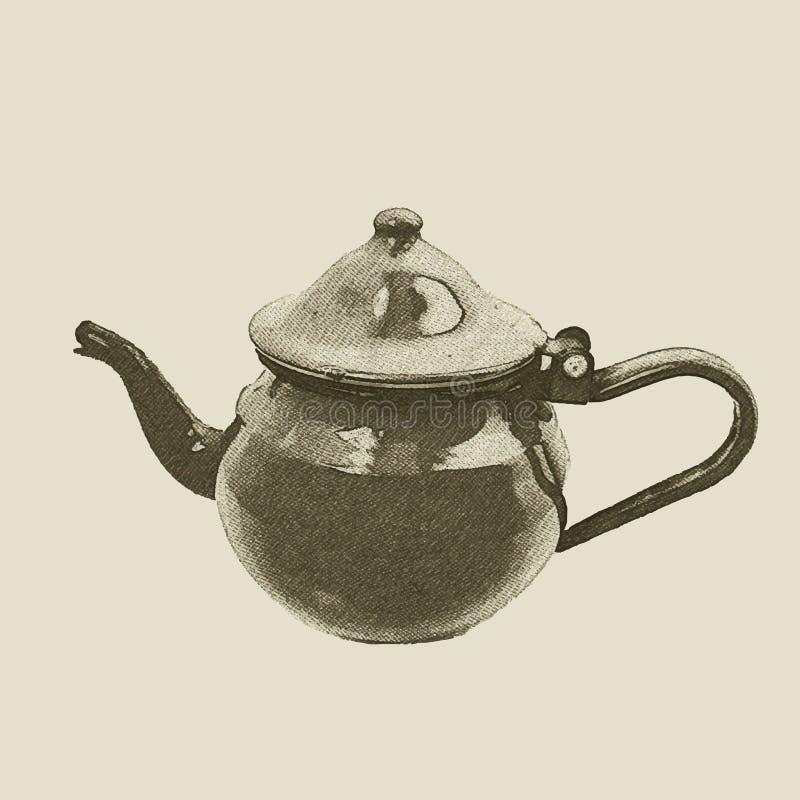 Ręka rysujący rocznika czajnik royalty ilustracja