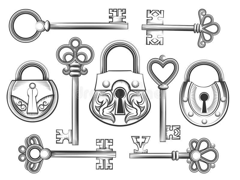 Ręka rysujący rocznika klucza i kędziorka wektoru set royalty ilustracja