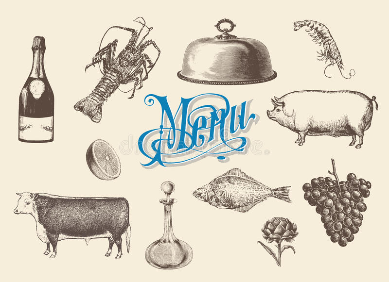 Ręka rysujący rocznika nakreślenia set jedzenie i napoje dla menu ilustracja wektor