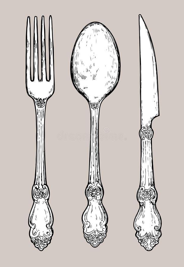 Ręka rysujący rocznika srebra cutlery royalty ilustracja