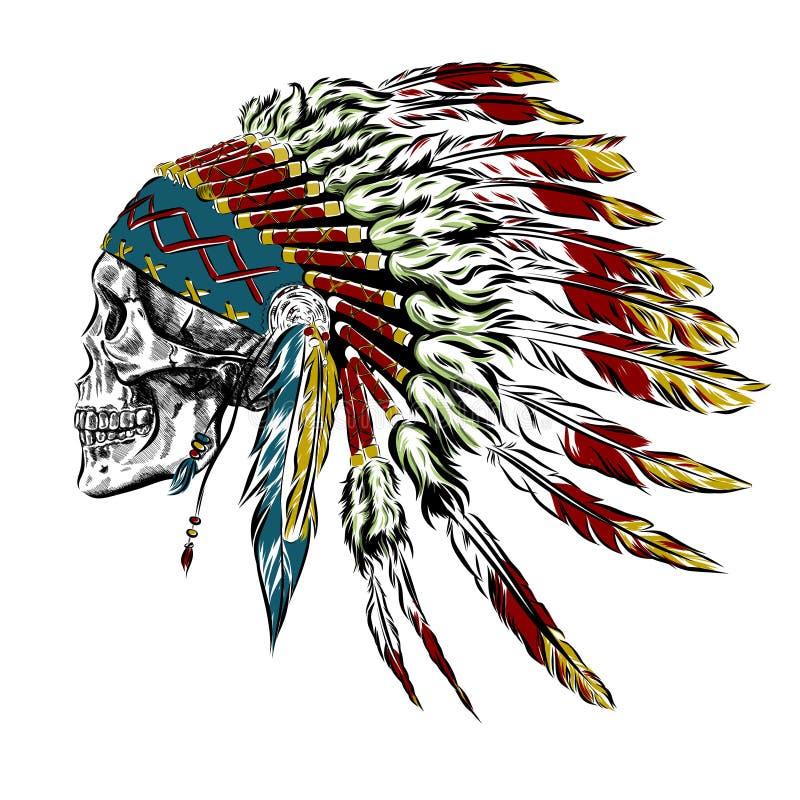 Ręka Rysujący rodowitego amerykanina indianina piórka pióropusz Z Ludzką czaszką również zwrócić corel ilustracji wektora ilustracja wektor