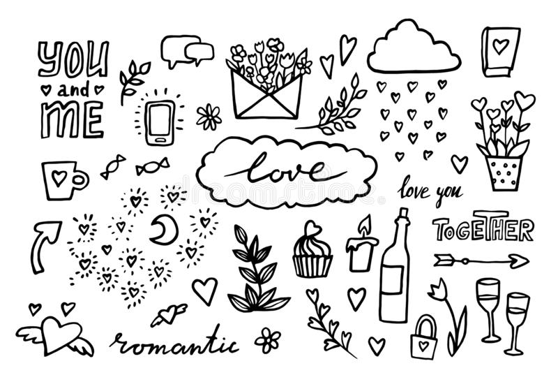Ręka rysujący romantyczny set projektów elementy również zwrócić corel ilustracji wektora doodle Ślubna kolekcja Walentynek serca royalty ilustracja