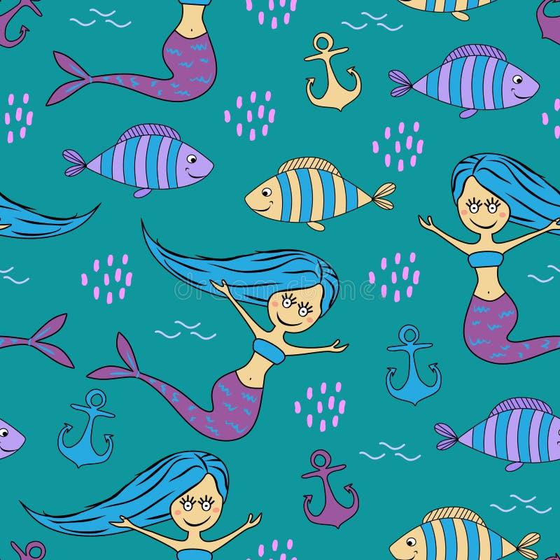 Ręka rysujący ryby i syrenki rysunku dziecięcy śliczny wzór Bezszwowy rysunkowy śmieszny tło ilustracja wektor