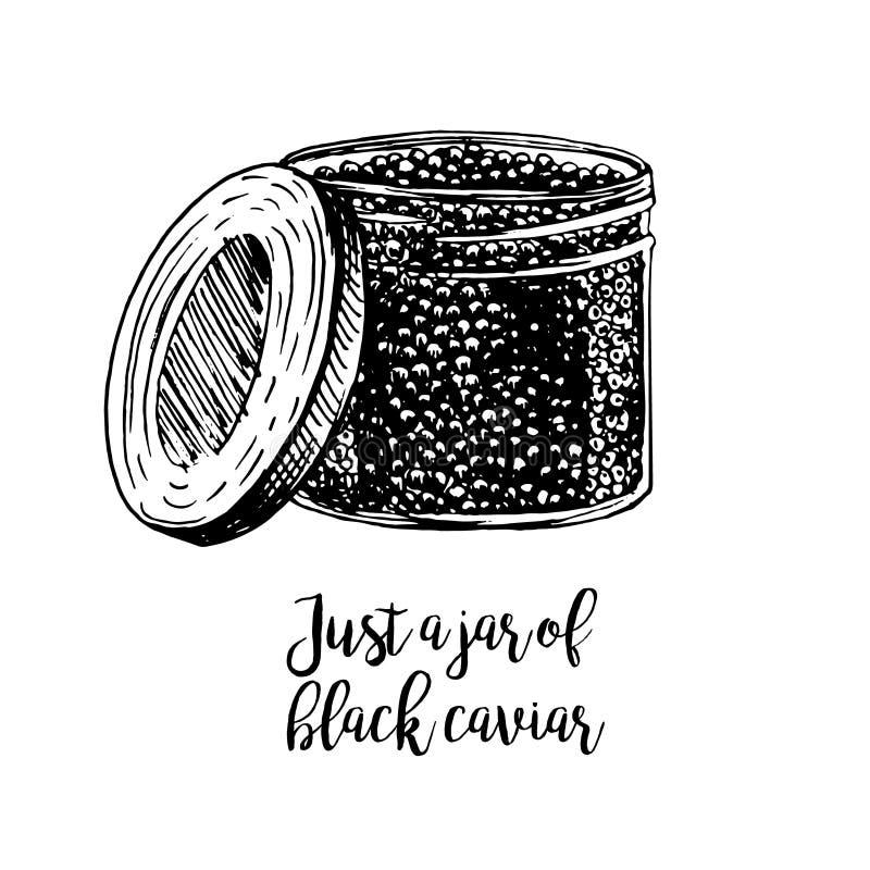 Ręka rysujący słój z kawiorem royalty ilustracja