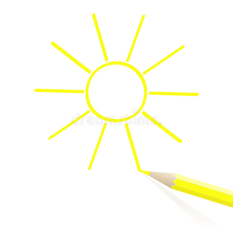 Ręka rysujący słońce ilustracji
