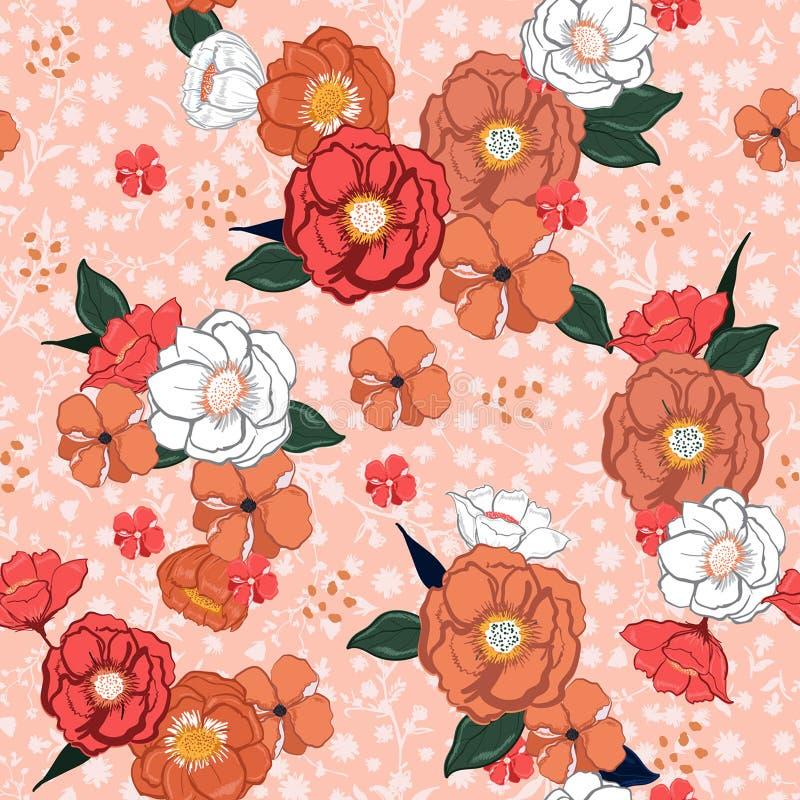 Ręka rysujący słodki kolorowy lata kwitnienie kwitnie na różowy kwiecistym royalty ilustracja