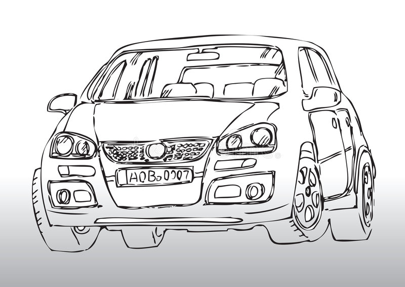 Ręka rysujący samochodowy nakreślenie royalty ilustracja