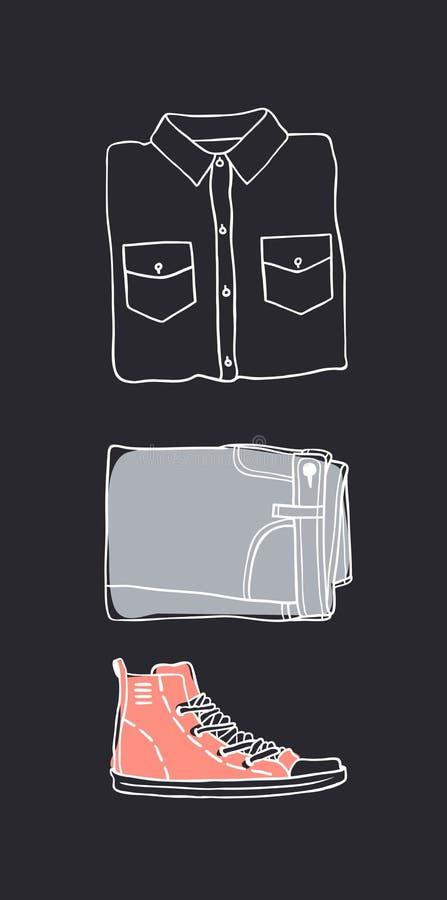 Ręka rysujący set cajg odzież Moda wektoru tło faktyczny ilustracja wektor