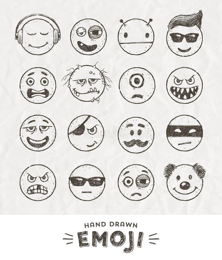 Ręka rysujący set Emoticons ilustracja wektor