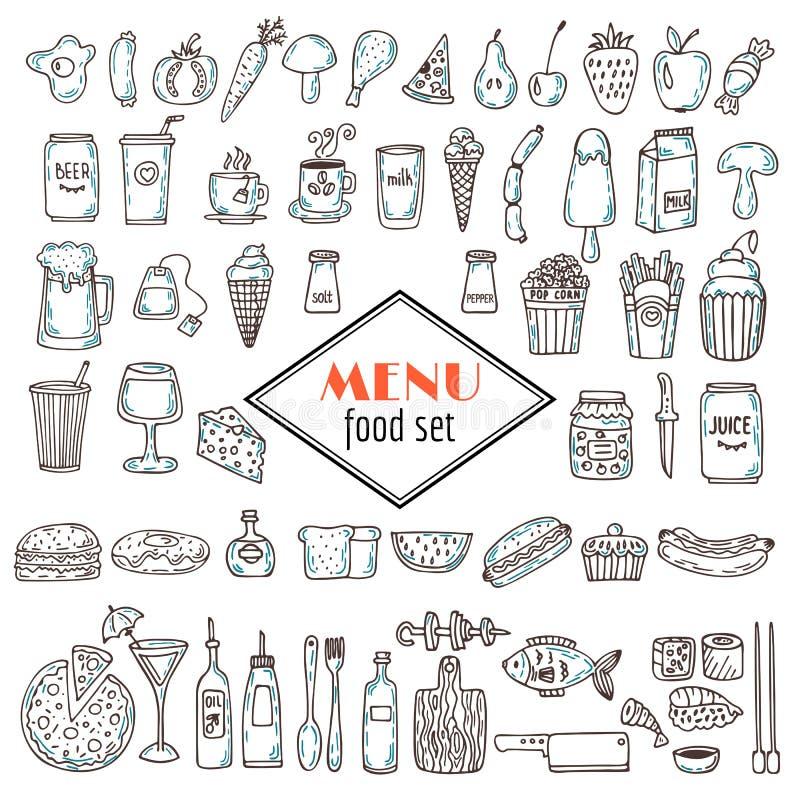 Ręka rysujący set karmowe ikony Set różnorodni doodles, ręka rysująca royalty ilustracja
