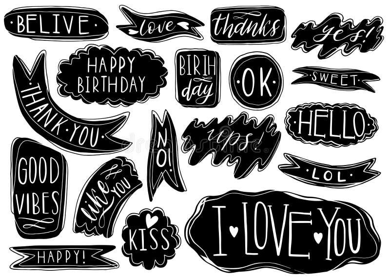 Ręka rysujący set mowa bąble z ręcznie pisany krótkimi zwrotami tak, dziękuje ciebie, ja kocha ciebie, podnosi, wszystkiego najle ilustracji